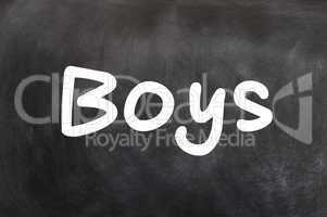 Boys - word written with white chalk