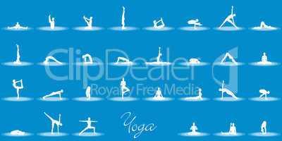 Yoga Posen Set - Blau Weiß
