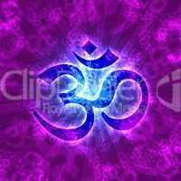 Aum Om Zeichen für Erleuchtung - Violett Blau