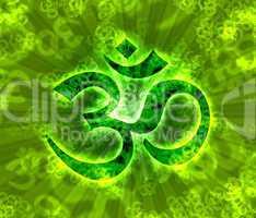 Grünes Om-Zeichen Bokeh mit Lichtstrahlen