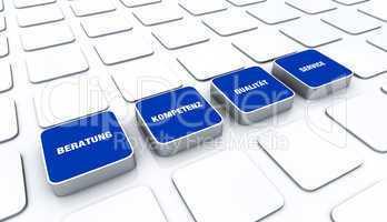 Quader Konzept Blau - Beratung Kompetenz Qualität Service 2