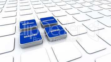 Quader Konzept Blau - Beratung Kompetenz Qualität Service 3