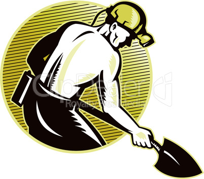 coal miner with shovel retro style