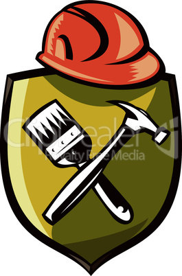 construction hardhat hammer paintbrush on a crest retro