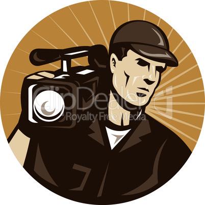 cameraman film crew shooting video camera retro