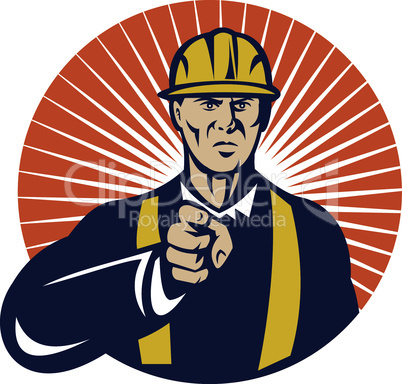 construction worker pointing retro