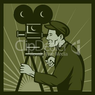 camera movie vintage director side retro