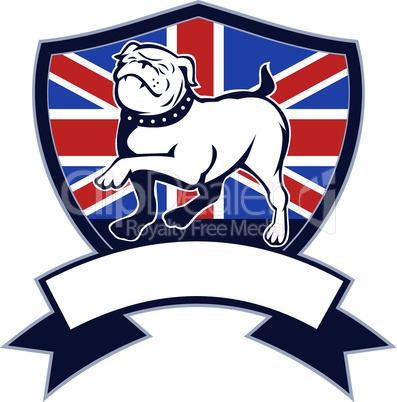 bulldog marching british flag shield retro