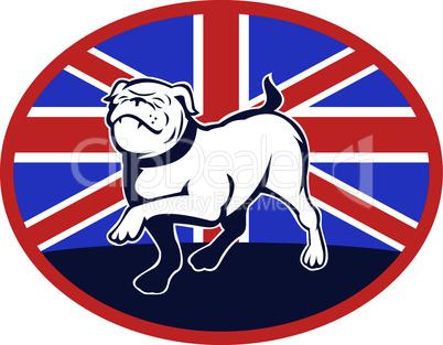 bulldog marching british flag retro