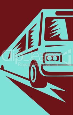 bus travel fast front retro