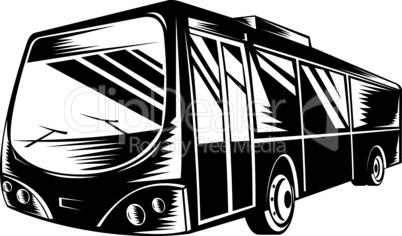 bus front woodcut retro