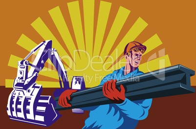 construction worker digger rear retro