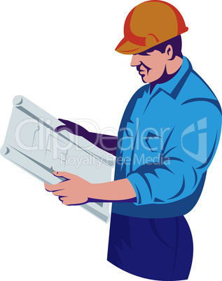 construction worker with a plan retro