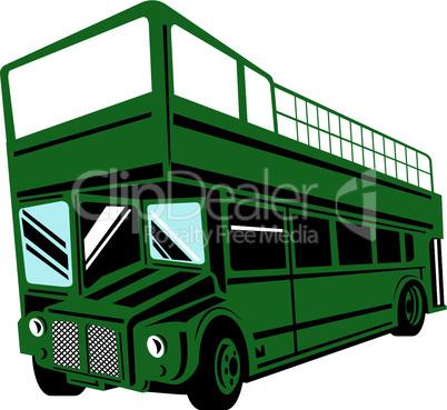 bus double decker open top green retro