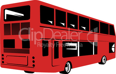 bus double decker rear red retro