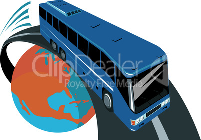 bus flying out of globe retro