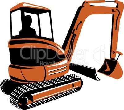 bulldozer excavator retro