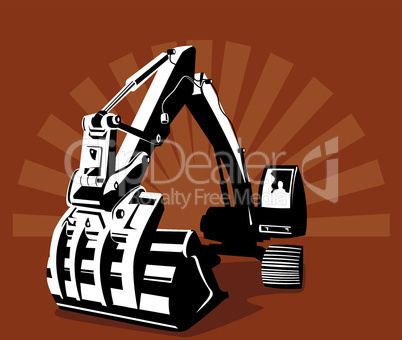 construction digger front retro