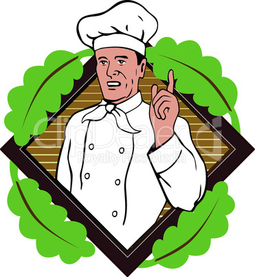 chef pointing finger with diamond retro