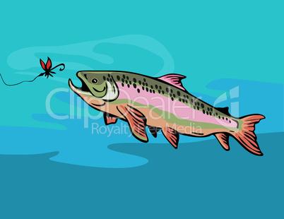 trout catching bait retro