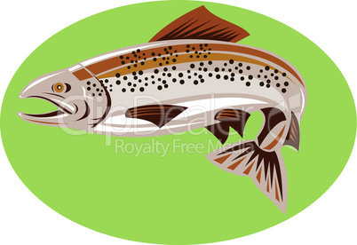 trout brown sideview retro