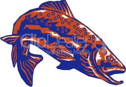 trout diving retro