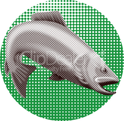 trout diving halftone dots retro