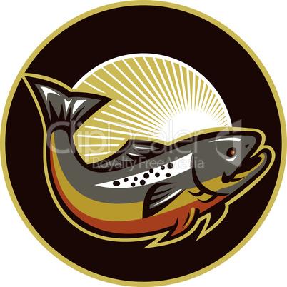 trout jumping half circle retro
