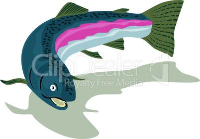 trout rainbow below retro