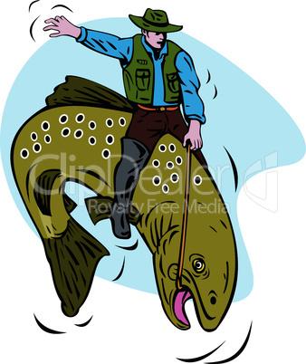trout rodeo riding retro
