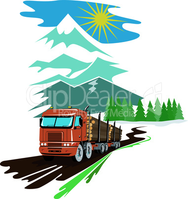 truck logging mountains trees retro