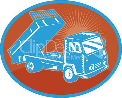 truck tipper aerial retro