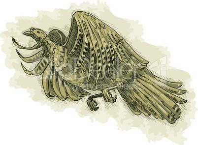 turkey flying retro