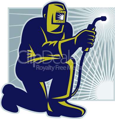 welder welding kneel retro