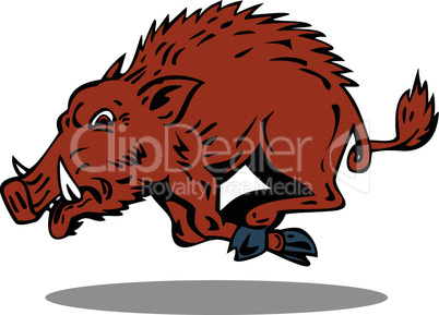 wild hog attacking run retro