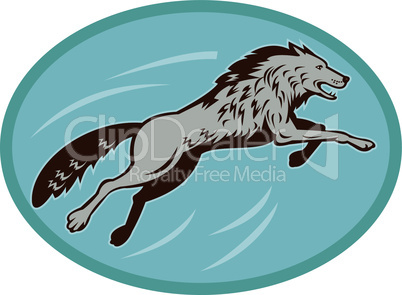 wolf jumping attack side retro