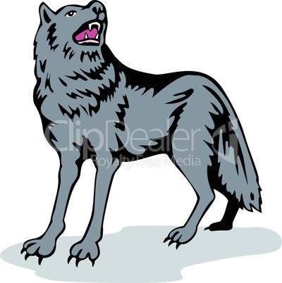 wolf standing side retro