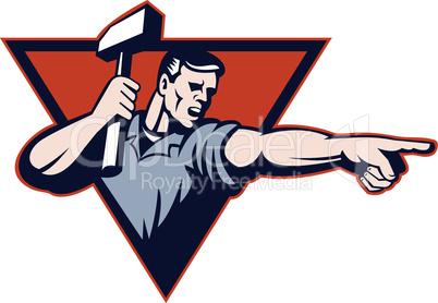 worker hammer pointing retro
