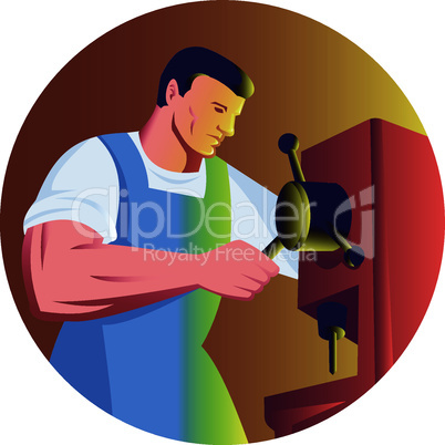 worker drill press side retro