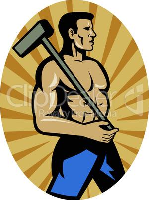worker hammer side retro