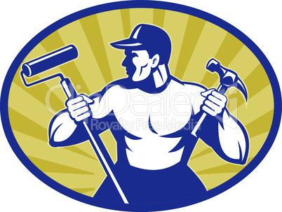 worker paint roller hammer retro
