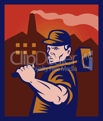 worker sledge hammer factory retro