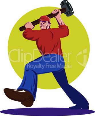 worker with smashhammer retro