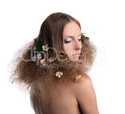 Naked girl with fashion hair style portrait