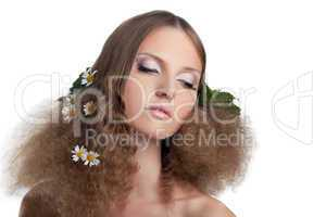 Naked girl hide with cloth - camomile in hairs