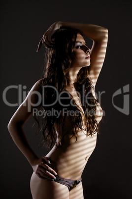 nude girl in dark posing before  jalousie