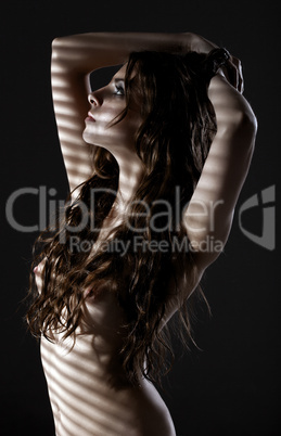 naked woman in dark hide breast by hairs