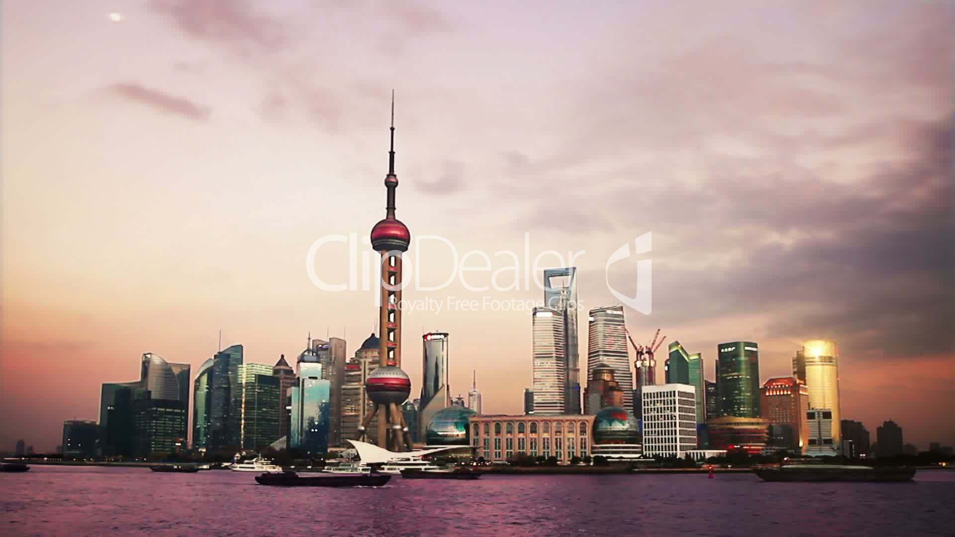 Beautiful Shanghai Pudong Skyline At Sunset Time Lapse