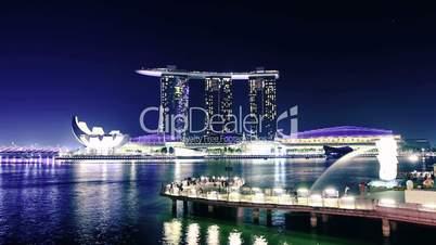 Singapore skyline at night. time lapse