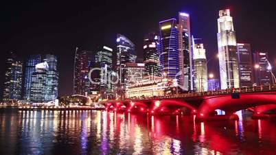 Singapore cityscape at night. time lapse